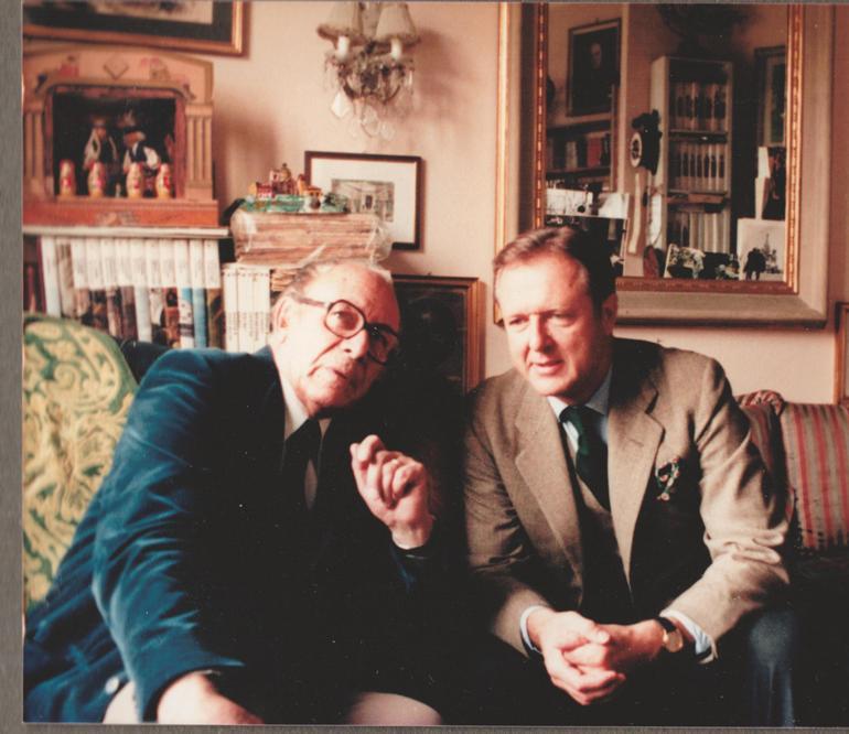 Н. Д. Лобанов-Ростовский и Н. А. Бенуа в мастерской художника. Милан, 1980 г.
