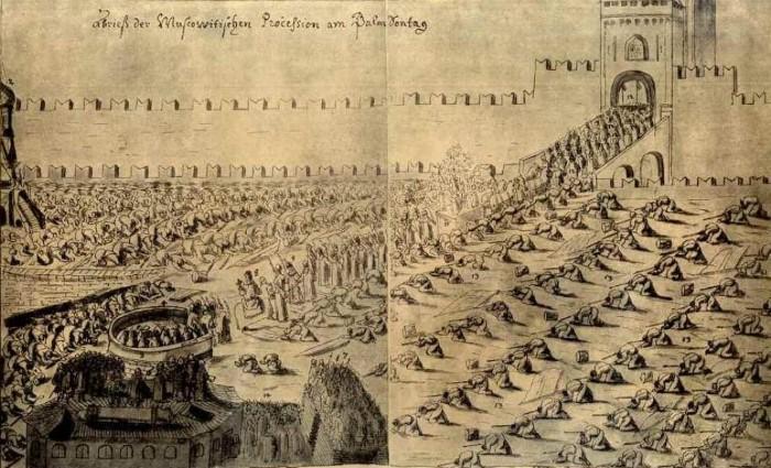 Празднование Вербного воскресенья на Красной площади.  Рисунок из альбома австрийского посла Августина Мейерберга, находившегося в Московии в 1661-1662 гг.