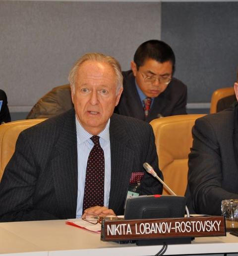 Н. Д. Лобанов-Ростовский выступает в ООН. Нью-Йорк, 25 января 2010 г.