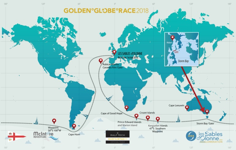 Карта Golden Globe Race  Фото: itboat.com