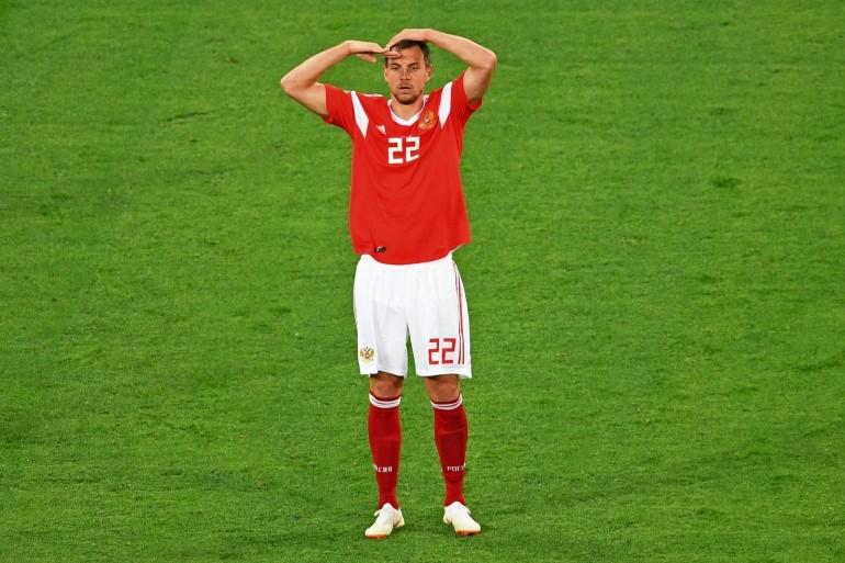Артём Дзюба забивает гол в ворота египтян. Фото: iinews.ru