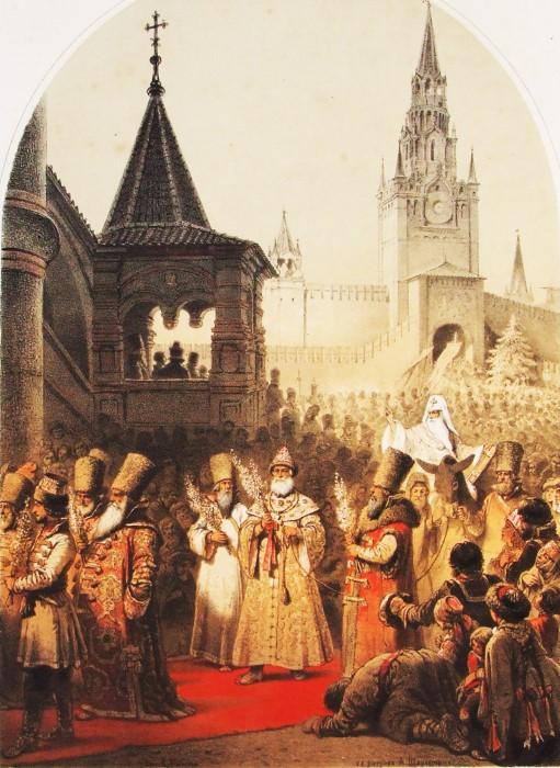 Совершение ритуала шествия на осле при Иване Грозном. Русская художественная листовка, 1862 год.